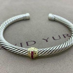 David Yurman Station Bracelet with Gold & Ruby's